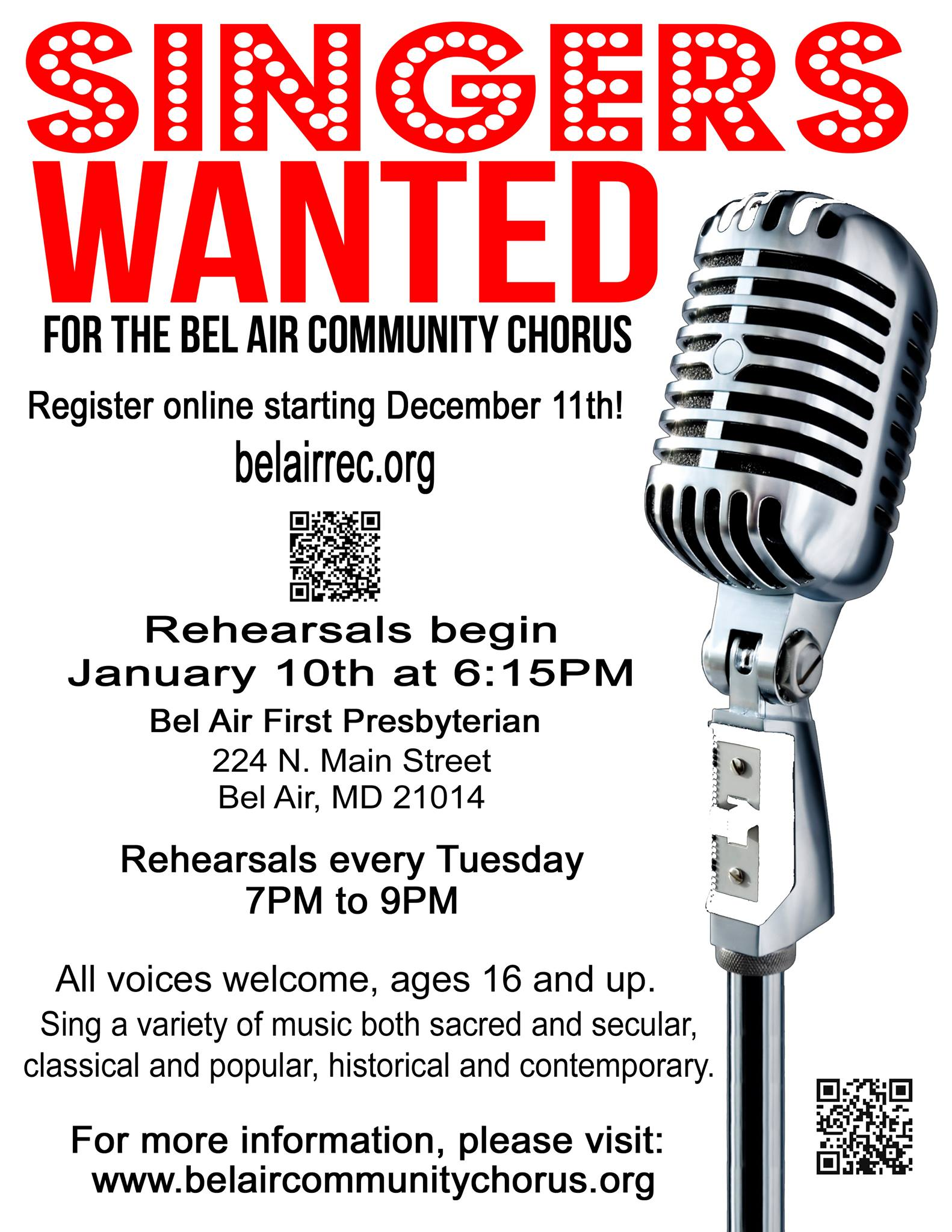 Singers wanted for the Bel Air Community Chorus.  Register online at belairrec.org